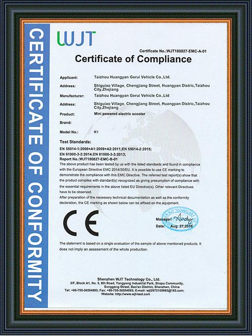 CE-EMC Certificates